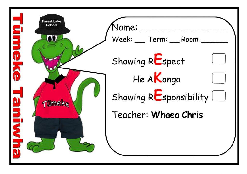 PB4L (Positive Behaviour 4 Learning), Forest Lake School